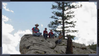 Me with my sons and nephew after a good climb at Yellowstone.